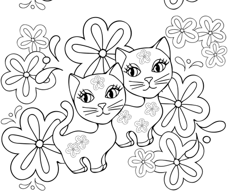 Best Friend Cats Black and White Coloring Page fabric by twix on Spoonflower - custom fabric
