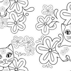 Best Friend Cats Black and White Coloring Page