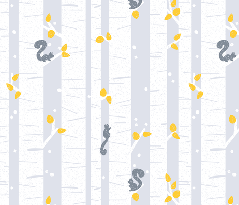 Modern Winter Aspens and Squirrels fabric by justdani on Spoonflower - custom fabric