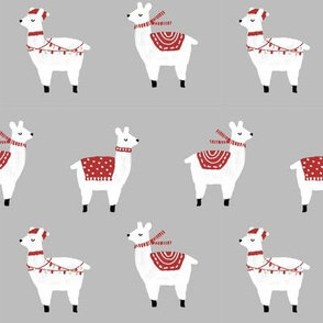 llama christmas lights sweater alpaca animal fabric grey