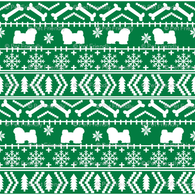 havanese fair isle christmas fabric dog silhouette holiday green