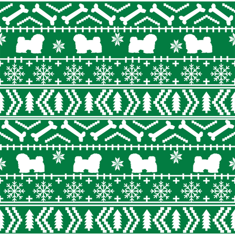 havanese fair isle christmas fabric dog silhouette holiday green fabric by petfriendly on Spoonflower - custom fabric