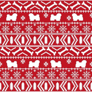havanese fair isle christmas fabric dog silhouette holiday red