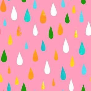 Rainbow Raindrops Pink
