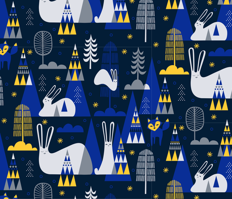 Mid Century Hare fabric by chris_jorge on Spoonflower - custom fabric