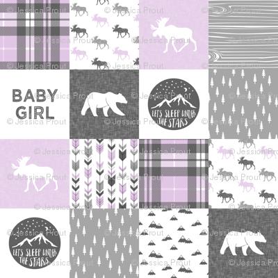 baby girl - woodland patchwork quilt top - purple