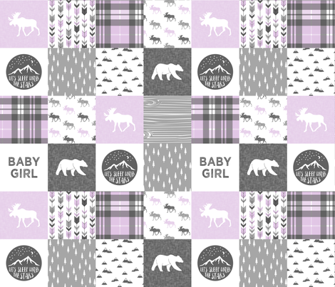 baby girl - woodland patchwork quilt top - purple fabric by littlearrowdesign on Spoonflower - custom fabric
