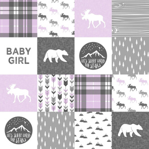baby girl - woodland patchwork quilt top - purple