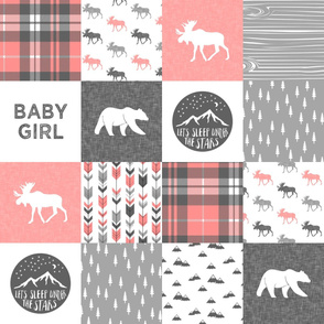 baby girl - woodland patchwork quilt top - coral