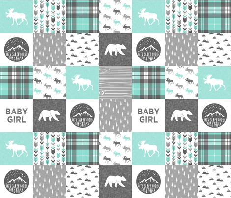 baby girl - woodland patchwork quilt top - light teal  fabric by littlearrowdesign on Spoonflower - custom fabric