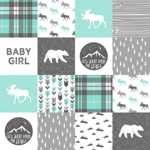 baby girl - woodland patchwork quilt top - light teal