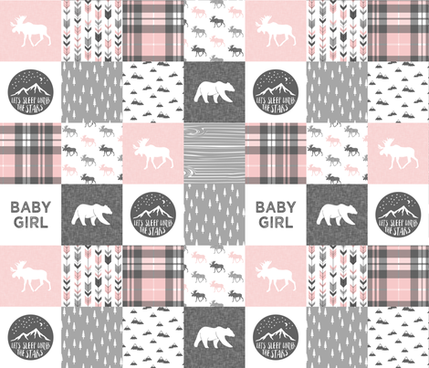 baby girl - woodland patchwork quilt top - pink  fabric by littlearrowdesign on Spoonflower - custom fabric
