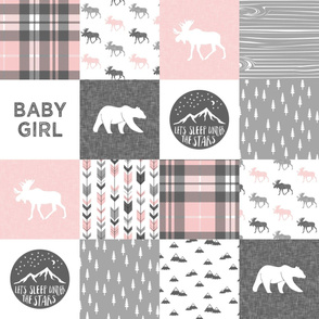 baby girl - woodland patchwork quilt top - pink