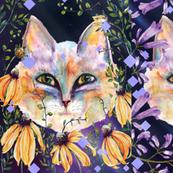 LARGE SIX PRETTY CATS 2 AMONG FLOWERS night diamond CHECKERBOARD PANEL
