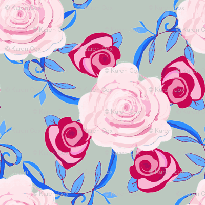 watercolor roses on gray background