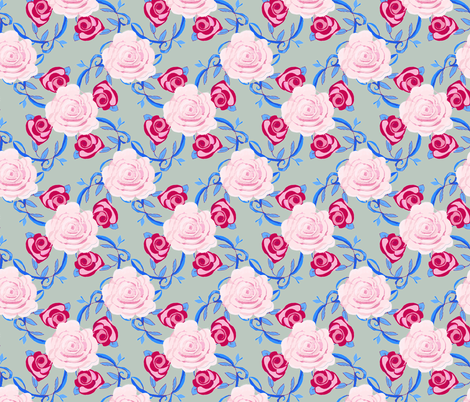 watercolor roses on gray background fabric by karenharveycox on Spoonflower - custom fabric