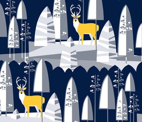 ModWinter_Deer in the Moonlight fabric by robinpickens on Spoonflower - custom fabric