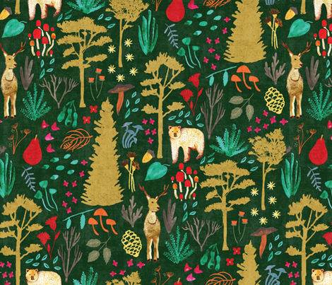 Autumn Woodlands - Green fabric by scarlette_soleil on Spoonflower - custom fabric