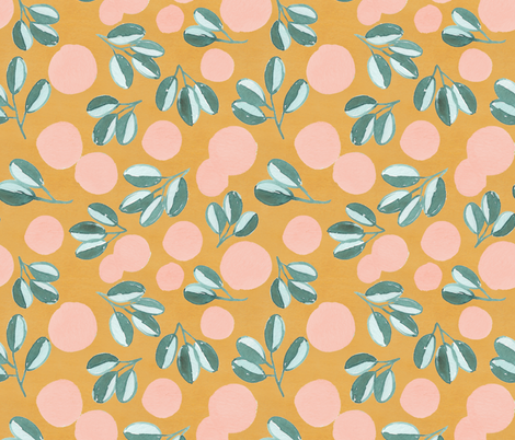Modern Magnolia (Golden) fabric by joy&ink on Spoonflower - custom fabric
