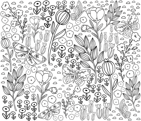 Floral Butterfly Meadow fabric by kristinnicoleart on Spoonflower - custom fabric