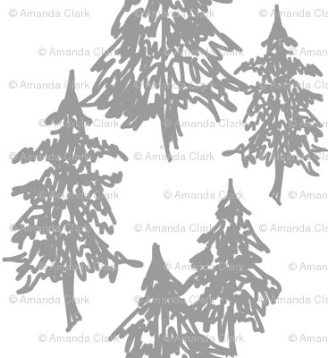 Evergreen Trees - grey on white