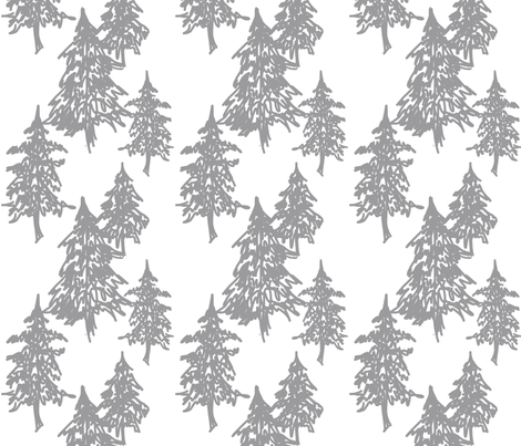 Evergreen Trees - grey on white fabric by sugarpinedesign on Spoonflower - custom fabric