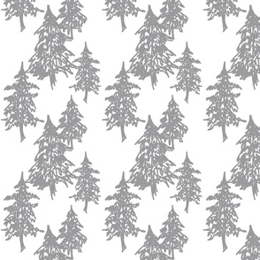 Evergreen Trees - grey on white