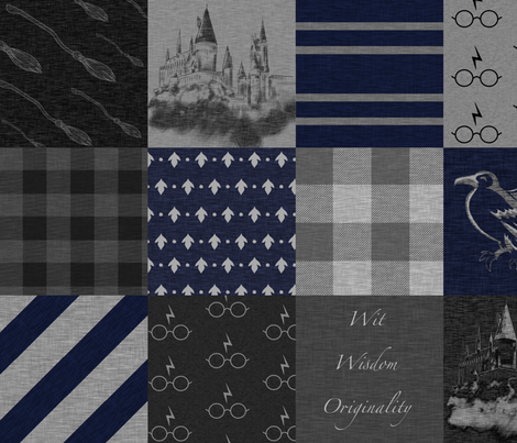 Witches and Wizards- Navy and Grey - Wit, Wisdom, Originality-Raven - Castles - Broomsticks fabric by sugarpinedesign on Spoonflower - custom fabric