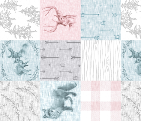 Woodland Snow Quilt for Girls- Rotated fabric by sugarpinedesign on Spoonflower - custom fabric
