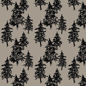 Evergreen Trees- black on taupe