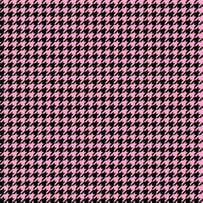 Quarter Inch Carnation Pink and Black Houndstooth Check