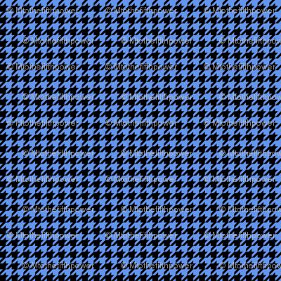 Quarter Inch Cornflower Blue and Black Houndstooth Check