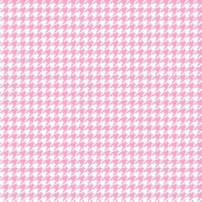 Quarter Inch Carnation Pink and White Houndstooth Check