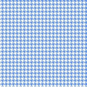 Quarter Inch Cornflower Blue and White Houndstooth Check