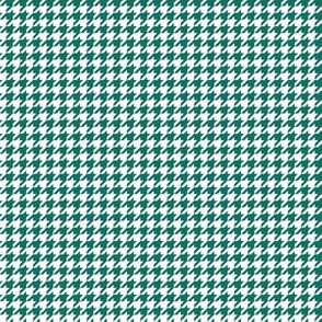 Quarter Inch Cyan Turquoise Blue and White Houndstooth Check