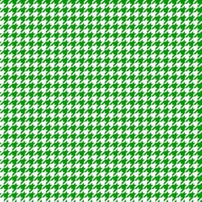 Quarter Inch Christmas Green and White Houndstooth Check