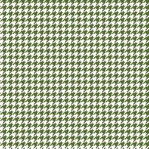 Quarter Inch Olive Green and White Houndstooth Check
