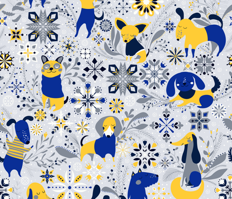 Happy Dog Year fabric by lidiebug on Spoonflower - custom fabric
