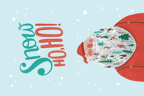 Snow Ho Ho Tea Towel fabric by juliagreenillustration on Spoonflower - custom fabric