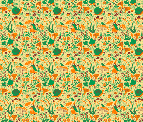 GNOMES, butter fabric by phoebewahl on Spoonflower - custom fabric
