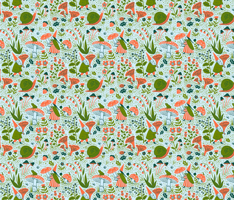 GNOMES, mist fabric by phoebewahl on Spoonflower - custom fabric