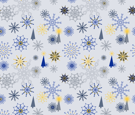 Mod Christmas Snowflakes fabric by stasiajahadi on Spoonflower - custom fabric