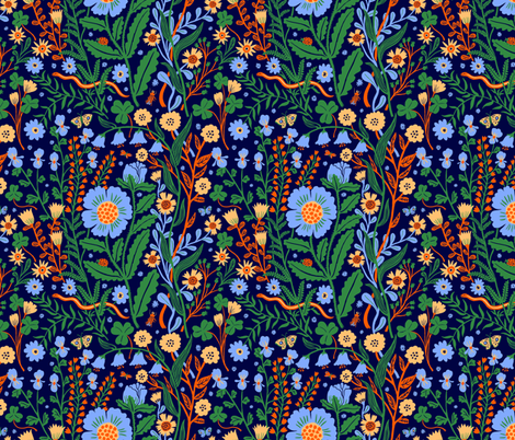 Flora blue, small fabric by phoebewahl on Spoonflower - custom fabric