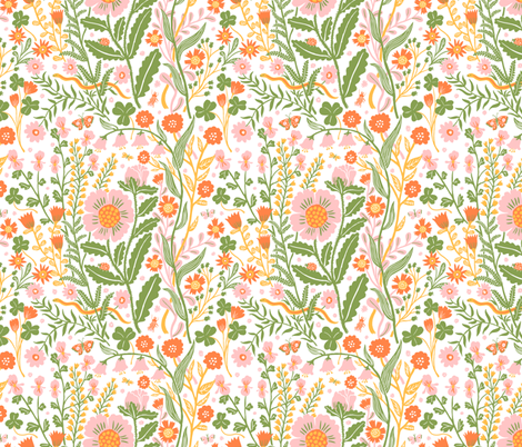 Flora white, small fabric by phoebewahl on Spoonflower - custom fabric