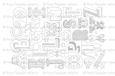 Alphabet Collage Panel (Color-Your-Own)    typography letters stars coloring book black and white children kids nursery play circus