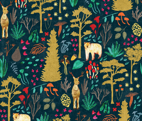 Autumn Woodlands - Deep Teal fabric by scarlette_soleil on Spoonflower - custom fabric