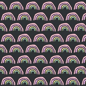 rainbow fabric magic rainbows nursery baby - charcoal pastel