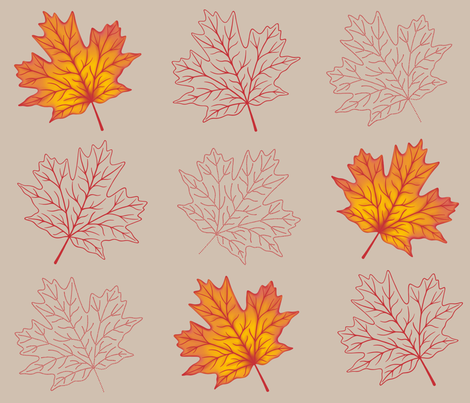 Deconstructed Maple Leaves fabric by willowbirdstudio on Spoonflower - custom fabric