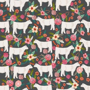 charolais cattle fabric cows florals farm fabric - charcoal