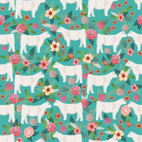 charolais cattle fabric cows florals farm fabric - turquoise